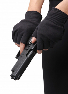 gloved hands with gun